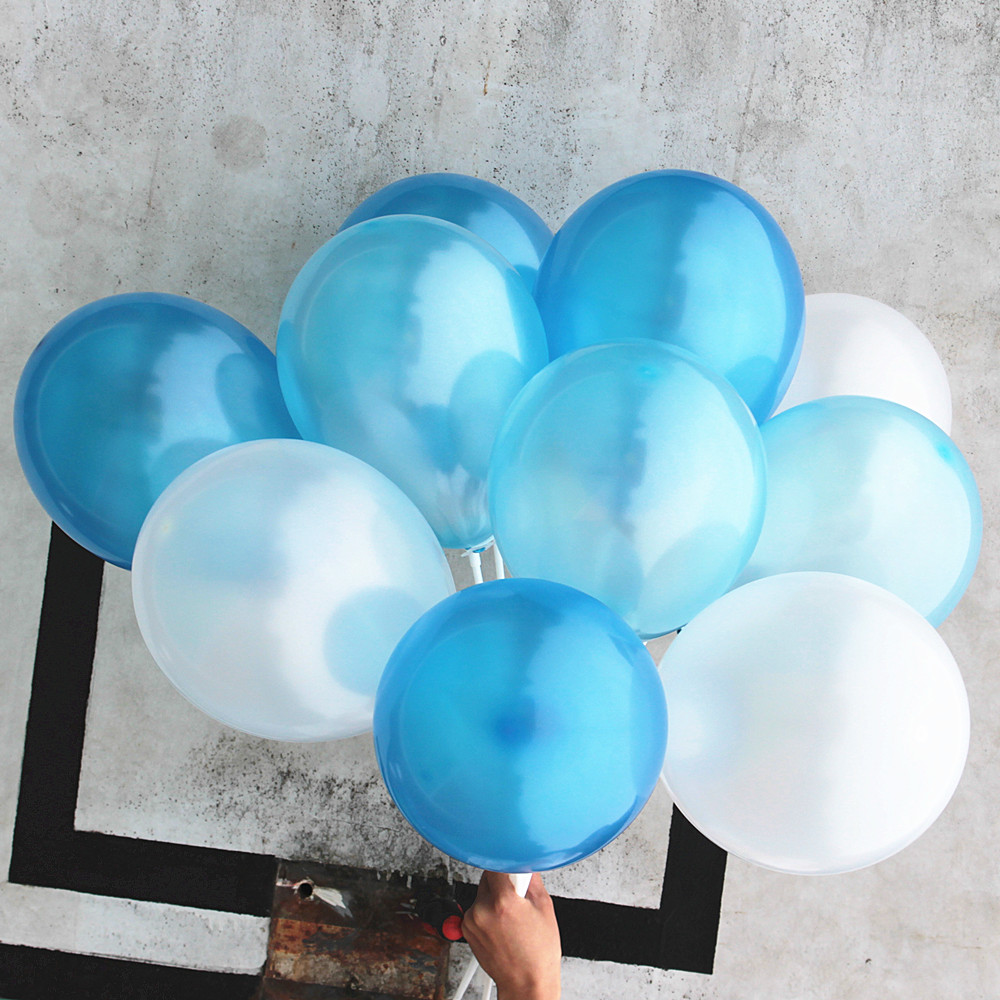 Blue White Balloons 100 pc 7 Inch Pearl Color Latex Balloons 15 g