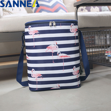 SANNE Flamingos Luxury Food Fresh Keep Lunch Box Bag Polyester Waterproof Picnic Travel Storage Thermal Insulated bag