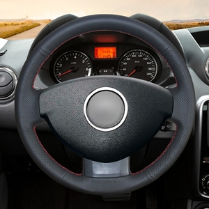 Image 2 - GKMHiR Steering Wheel Cover DIY Black Artificial Leather Car Steering Wheel Cover for Renault Duster Dacia Duster 2011 2015