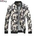 HCXY marca ropa 2016 chaquetas de Los Hombres Coreanos de primavera y otoño masculino abrigo masculino outwear slim fit cremallera de la impresión floral algodón