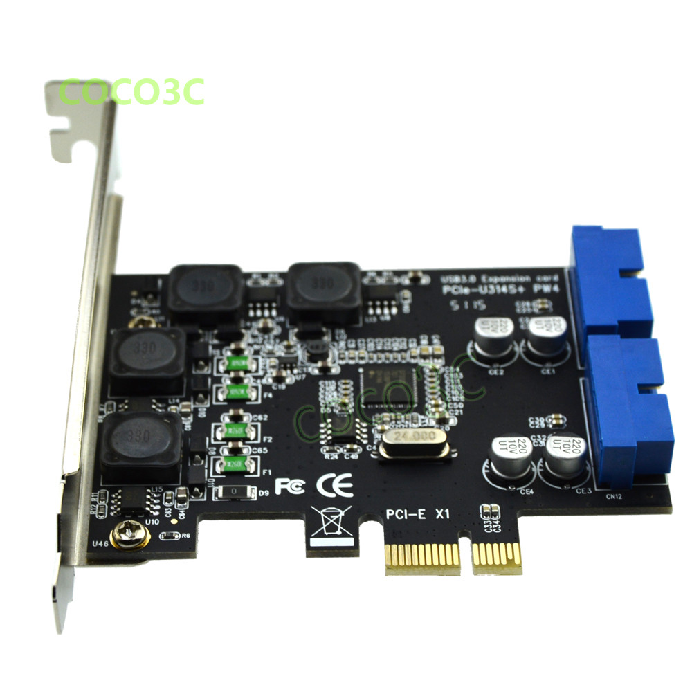 2 Ports USB 3.0 PCI Expansion Card PCI-E to USB 3.0 Express Card 20 PIN Adapter