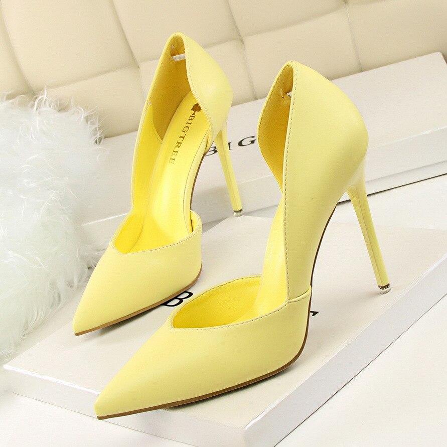 Women Pumps Fashion High Heels Shoes Black Pink Yellow Shoes Women