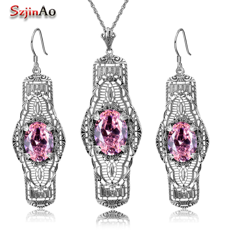 Szjinao Real Silver 925 Jewelry Sets Cute Pink Stone Adornment Wedding Jewelry Sets For Women Earrings/Pendant Free Gifts Box szjinao cute genuine 100