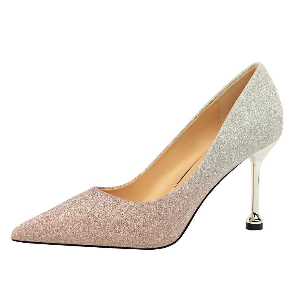 Hot Sale Glitter Heels Ladies Pumps
