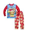 3 cor 2016 Natal Pijama Novo conjunto Crianças Dos Desenhos Animados POKEMON IR impresso manga comprida pijamas para meninos das meninas de varejo