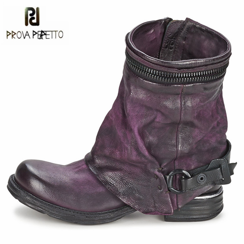 Prova Perfetto Purple Soft Genuine Leather Women Ankle Boots Flat Short Riding Boots Female Platform Rubber Botas Militares