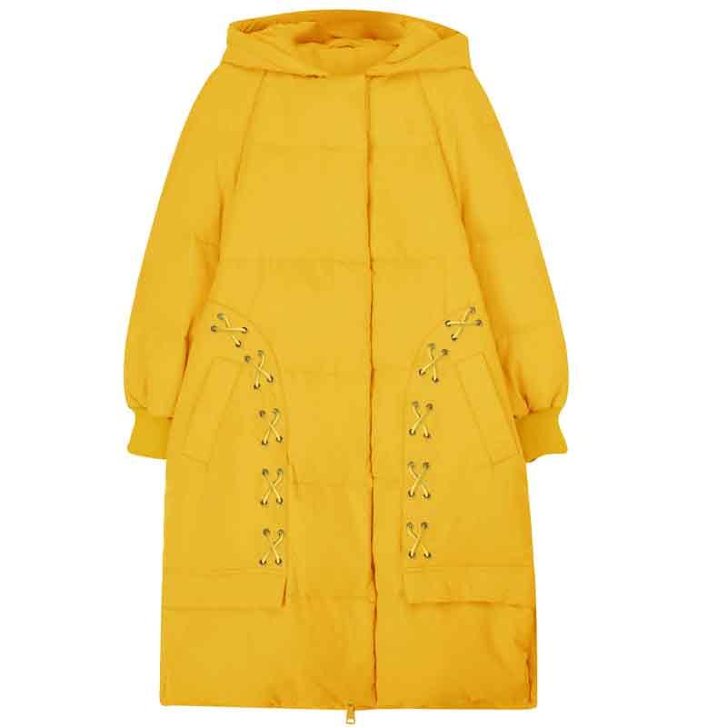 Lâche Capuche white À Femelle Parka Long Hiver Femmes Blue yellow Duvet Décontracté Liens Samstree D'extérieur Vêtement Poche De Épais Manteau YaUwU7q