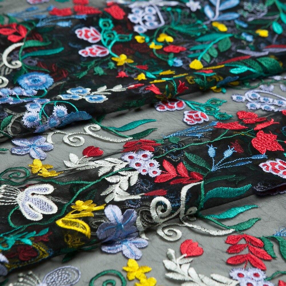 Mode papillon et feuilles broderie dentelle noir maille tissu, couture pour robe, jupe, mariage, danse, artisanat par la cour