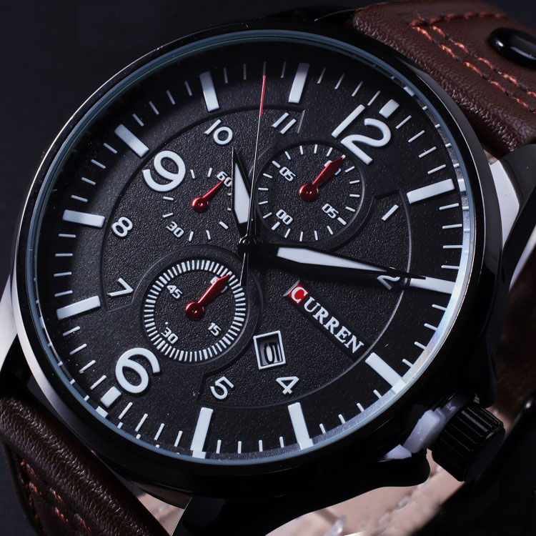 Relogio Masculino CURREN Analog Sports Wristwatch Display Date Quartz Men Watches Casual High Quality Leather Strap Male Clock цена 2017