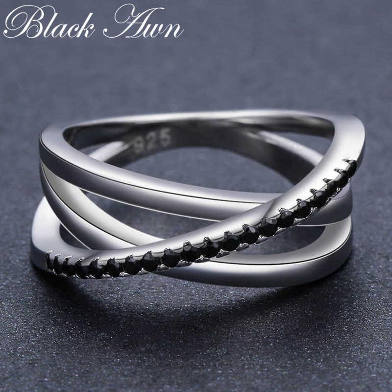 [黒芒] ヴィンテージ 3.9 グラム 925 スターリングシルバーファインジュエリーバゲ行黒スピネルの結婚指輪 g006