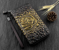 Mens Skull Grim Reaper Death Biker Punk Gold Leather Wallet Purse Handbag N12