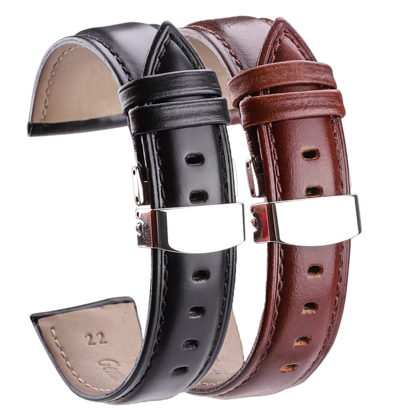 18mm - 24mm Watch Band Strap Brown Black High Quality Genuine Leather Watchbands Bracelet Accessories Deployment Buckle