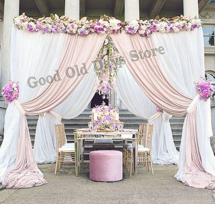 10'x10'x10' белый с Свет Шампанское свадебное киоск с трубы из нержавеющей стали, подставка площади полог шторы свадьбы реквизит