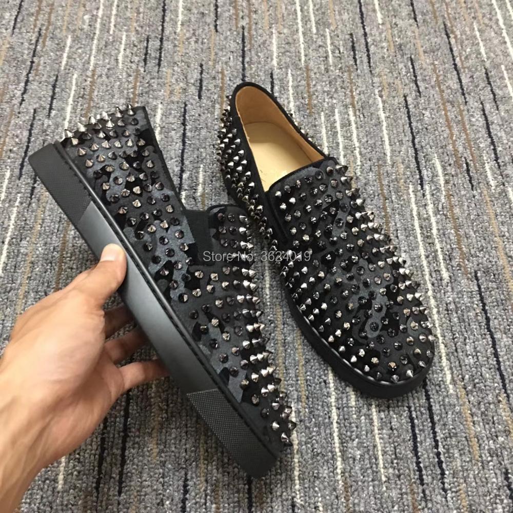 Chaussures Coupe 2018 Camo Bas Qualité Cuir Dentelle Clandgz Printemps En up bas Sneakers Rouge Haute Noir Rivets Mocassins arq5fHaw