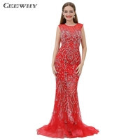 CEEWHY Backless High end Red Evening Dress Beaded Crystal Evening Dresses Long Arabic Evening Gowns Dresses Robe Longue Kaftan