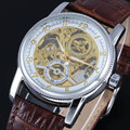 2016 New Fashion Brand Winner Leather Band Men Skeleton Automatic Mechanical Watch Men Dress Diamond Mechanical Wristwatch gift