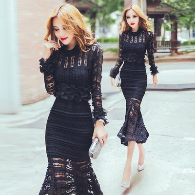 ce14e2dc07f plus size crop top and skirt set 2015 autumn black long sleeve Ruffles lace  shirt +High waist fish tail skirt 2 piece set women