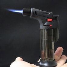 Briquet au gaz Butane, pistolet de pulvérisation Portable, pour barbecue, briquet à tube de cigare coupe vent 1300 C pour lextérieur