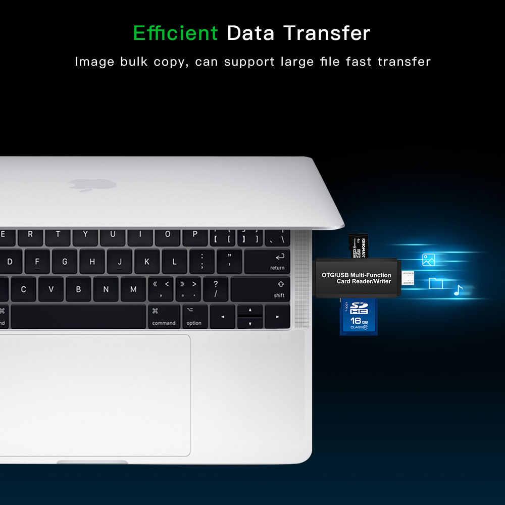 USB 2.0 + OTG Micro SD/SDXC TF محوّل قارئ البطاقات متعدد الوظائف يو القرص الكمبيوتر الهواتف ذاكرة Cardreader