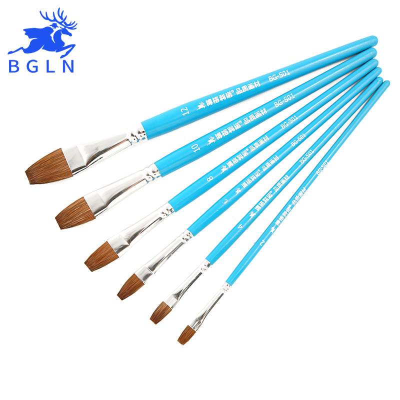 цена на Bgln 6Pcs Weasel Hair Flat Watercolor Paint Brush Set Hand-Painted Watercolor Oil Painting Brushes School Art Supplies BG-S01