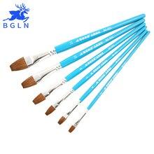 Bgln 6Pcs Weasel Hair Flat Watercolor Paint Brush Set Hand-Painted Oil  Painting Brushes School Art Supplies BG-S01