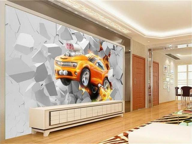 3d photo wallpaper murale personalizzato soggiorno fiamma auto ...
