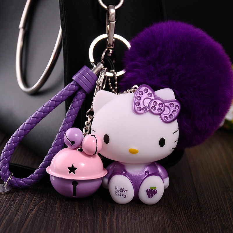 92534e178 Cartoon Cute Rabbit Fur Ball Pom Pom Helllo Kitty KT Keychain Leather Rope  Bell Key Ring
