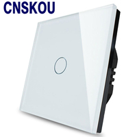 Free Shipping EU Standard Touch Switch 1 Gang 1 Way Wall Light Touch Screen Switch Crystal