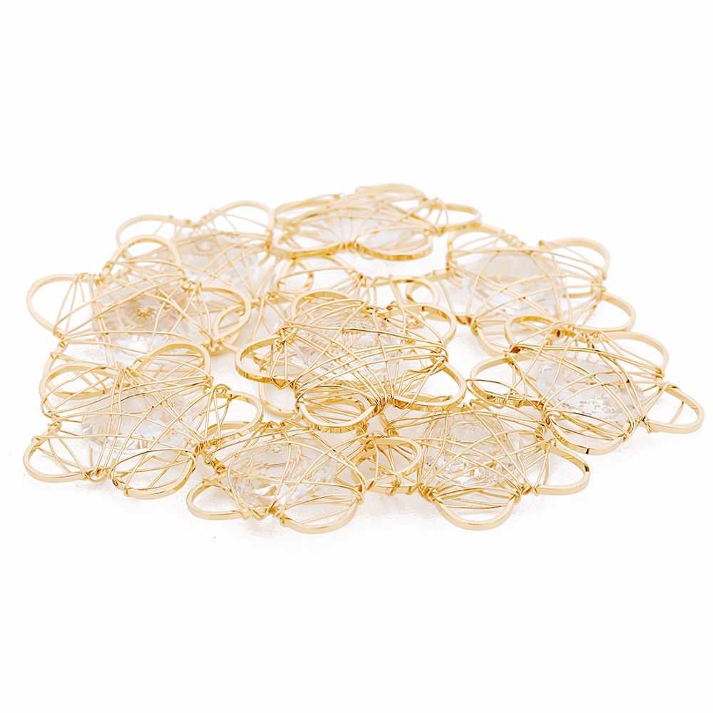 LOULEUR Stars Wire netting Charms Pendant Gold Color Alloy Crystal Cage Pendant For Jewelry Cloth Decoration Making Findings in Pendants from Jewelry Accessories