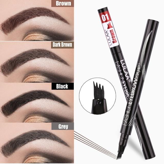 Natural Waterproof Eyebrow Pencil Brown Black Gray Eyebrow Enhancer Four-jaw Tattoo Pencil Eyebrow Pencil Makeup