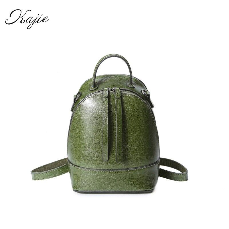 Kajie Fashion Lady Retro Oil Wax Genuine Leather Backpack Elegant Double Zipper Style Shoulder Bag Female