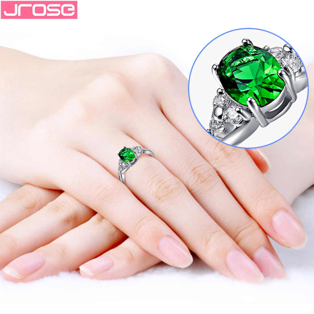 JROSE งานแต่งงานรูปไข่ Gorgeous สีเขียวสีชมพูสีแดง Cubic Zirconia Silver สีขาว goldplated แหวนขนาด 6 7 8 9 10 เครื่องประดับสำหรับผู้หญิง