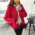 Las mujeres Chaqueta de Punto 2017 Otoño Primavera Moda de Punto O-cuello Cardigans Cremallera de Alta Calidad Tire Femme Sweter Mujer SZQ154