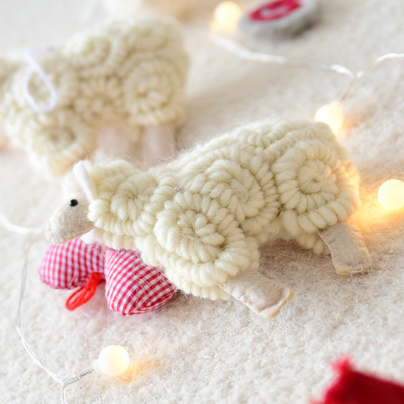 Nordic style handwork Curly sheep Christmas Tree Pendant Hanging Ornament Felt Sheep Home Decoration gift