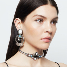 2016 New Fashion Rhinestone Hollow Jewelry Set Earring Choker Necklace Chunky Luxury Retro Statement Necklaces For Women Party