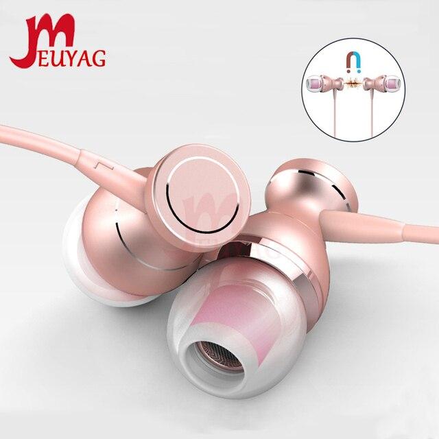 MEUYAG מתכת מגנטי אוזניות ספורט ריצה ב אוזן אוזניות דיבורית אוזניות אוזניות עם מיקרופון סטריאו אוזניות