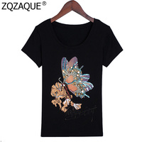 2018 Wholesale And Retail Women New Sale Beading T Shirts High Quality Diamonds Butterfly Pattern Ladies
