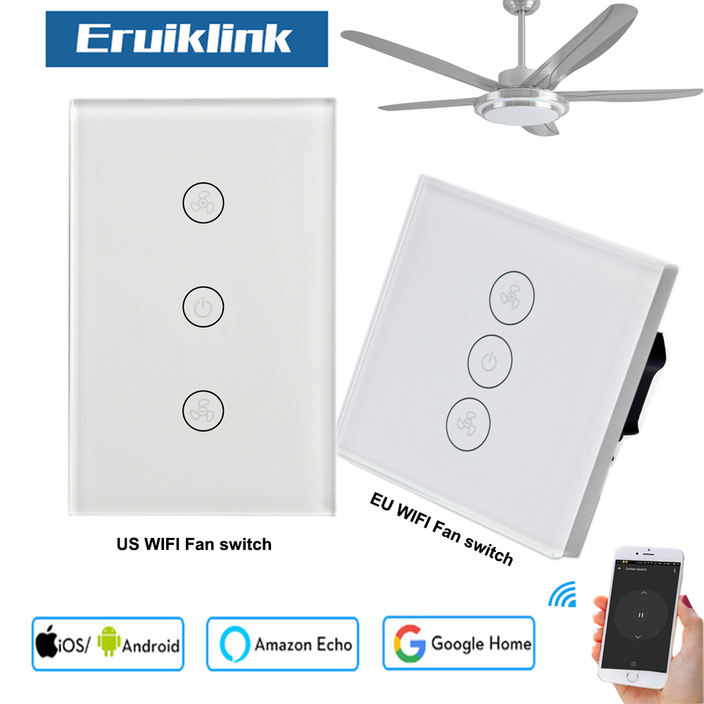 EU US WiFi Smart Ceiling Fan Switch Home Mobile APP Remote Control work with Amazon Alexa Google No Hub Required