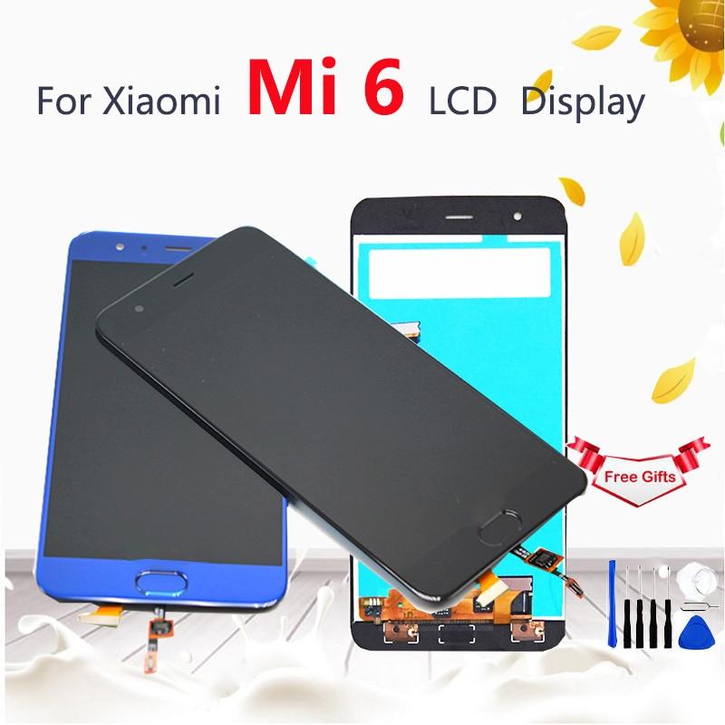 For Xiaomi 6 Mi6 LCD Display Touch Screen With Fingerprint Button Sensor Digitizer Screen Glass Panel Replacement For Xiaomi Mi6