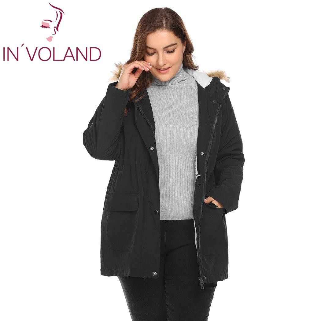IN'VOLAND Plus Size L-4XL Vrouwen Warm Jasje Winter Casual Grote Effen Fleece Hooded Verdikte Puffer Jacket Big Size