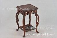Rain Zhong Mahogany Red Wood Mahogany Small Flower Vase Hippocampus Several Jade Statues Base