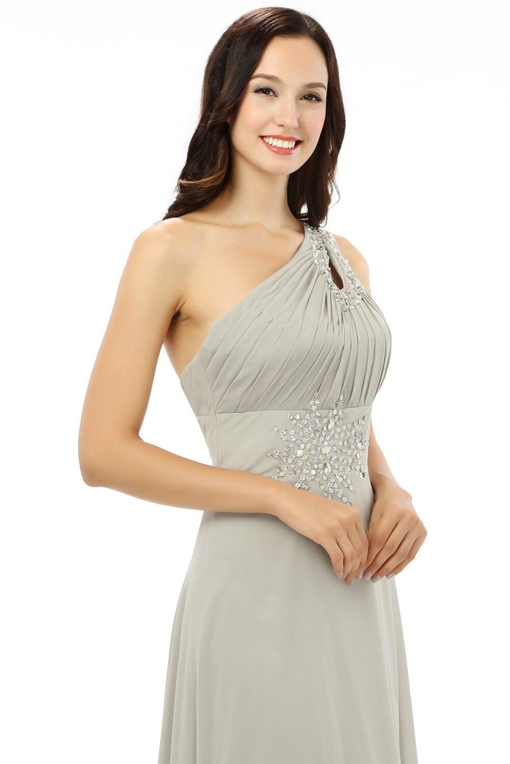 Robes de soirée de maternité 2019 a-ligne une épaule en mousseline de soie perles cristaux femmes formelle longue robe de soirée robe de bal robe de bal - 5