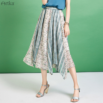 ARTKA 2019 Summer Women Skirt Irregular Chiffon Skirt Elegant Elastic Waist Skirt For Women Fashion Special Print Skirt QA10598X