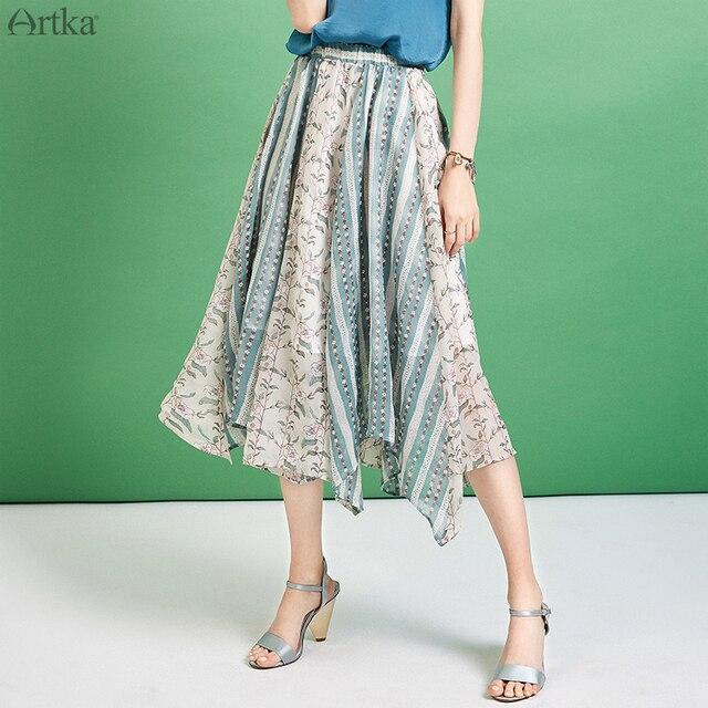 ecdda9d5c4 ARTKA Verano de 2019 mujeres falda Irregular Chiffon falda elegante falda  cintura elástica para mujeres de moda de impresión especial falda QA10598X