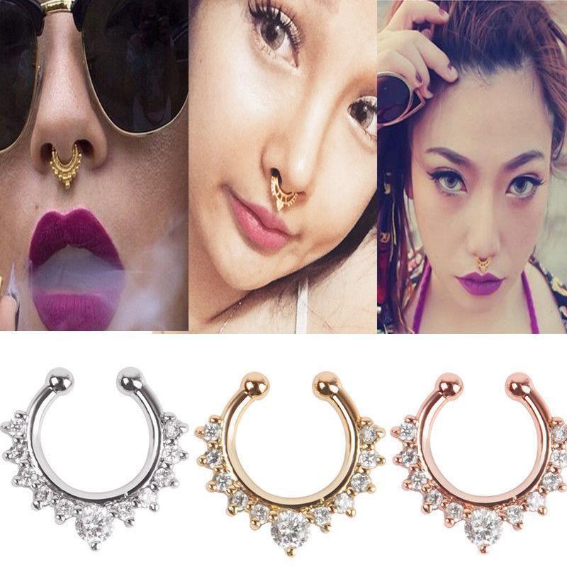 Fashion Crystal Jewelry Gems Clip On Fake Septum Non Piercing Nez Anneau Hoop NEUF