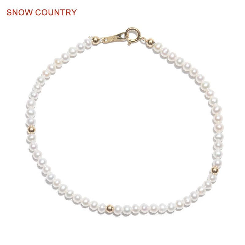 SNOW COUNTRY Allergy Free 2.5-3mm Genuine Tiny Natural Pearl Bracelet 18K Solid Gold For girl Gift Fashion Jewelry Free Shipping allergy free kids