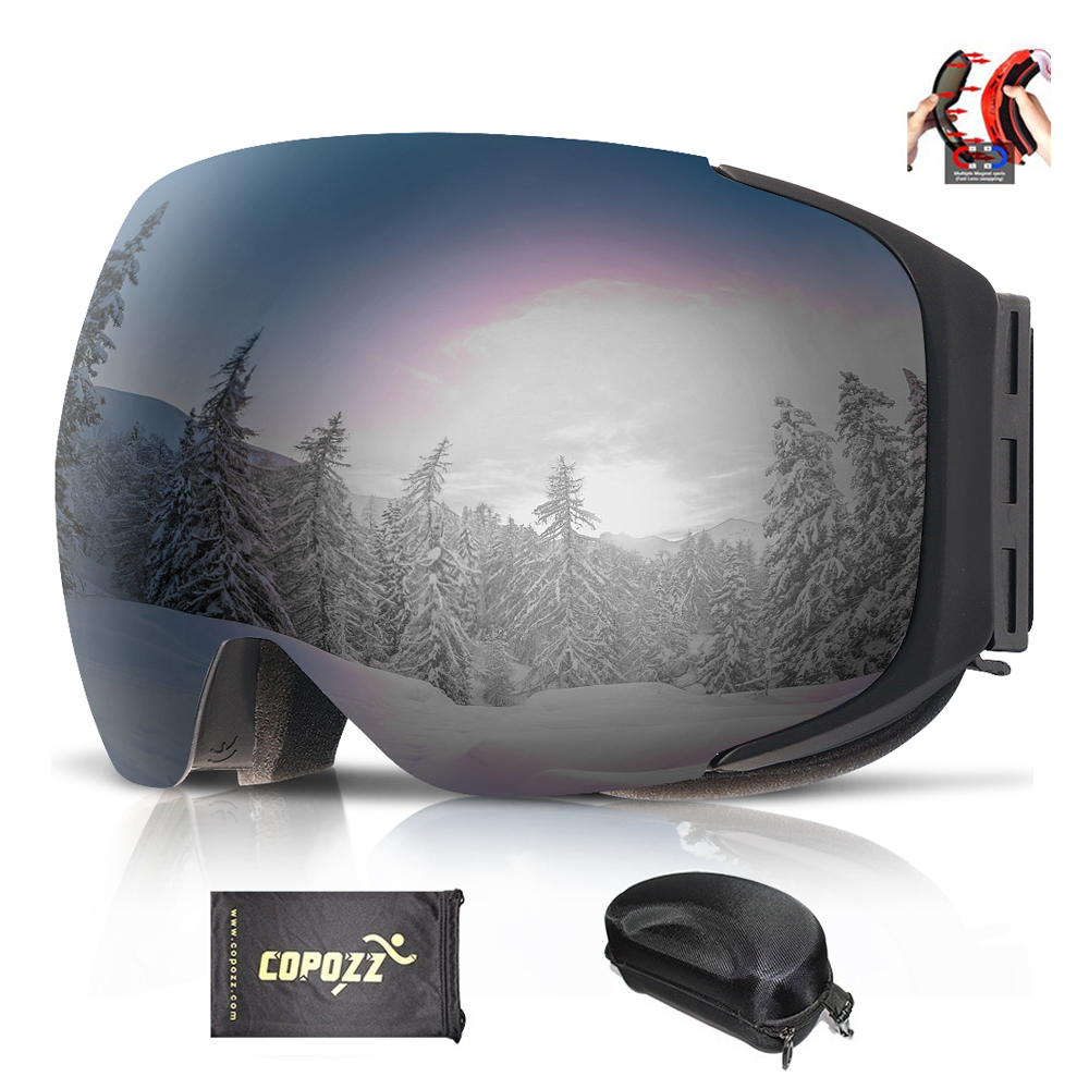 COPOZZ Brand Magnetic Ski Goggles With Case Double Lens Anti-fog Ski Snow Glasses UV400 Skiing Men Women Winter Snowboard 2181 polisi winter snowboard snow goggles men women double layer large spheral lens skiing glasses uv400 ski skateboard eyewear