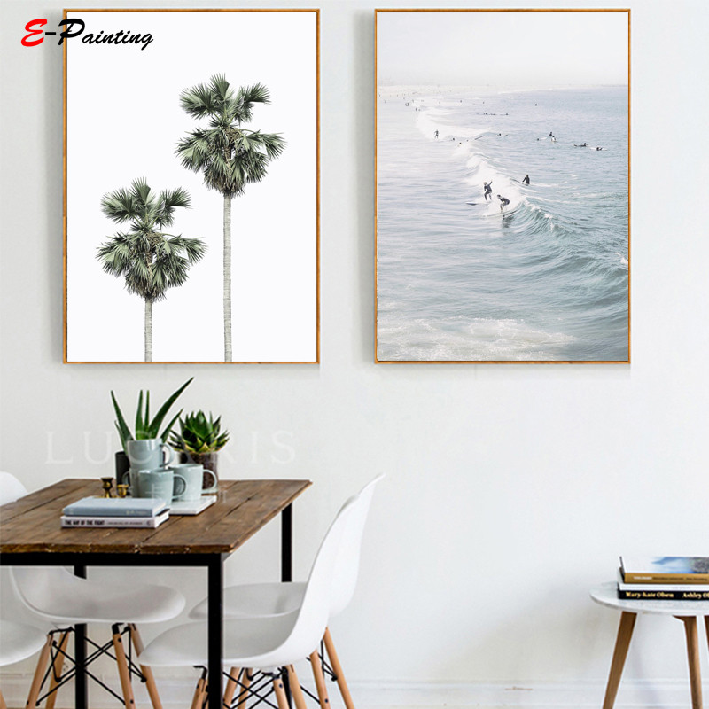 Us 3 75 25 Off Modern Wall Painting California Beach Palm Trees Print Beach House Decor Pastel Ocean Surfers Art Canvas Print Home Picture In