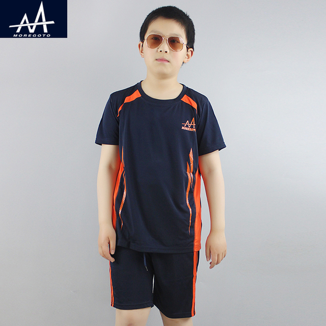 ee7feb4d21f Summer Boy s Sports Suit Children Soccer Clothes Dry Sportswear Teen Boy  Jogging Sets Boys Casual Clothing Sets Tee and Shorts