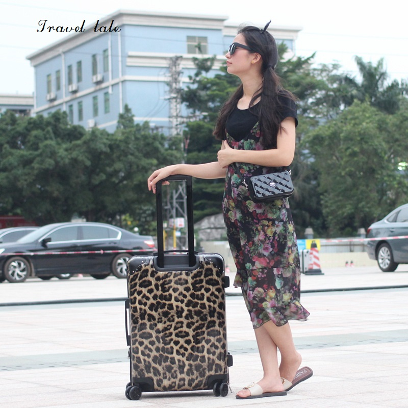 Travel tale Sexy leopard fashionPC 20 24 inch size Rolling Luggage Spinner brand Travel Suitcase Special